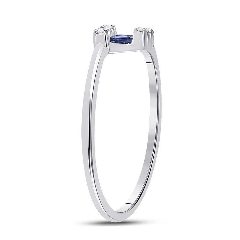 14kt White Gold Womens Baguette Blue Sapphire Fashion Ring 1/4 Cttw