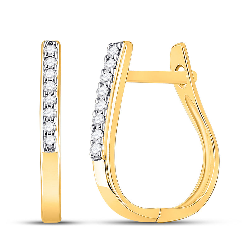 10kt Yellow Gold Womens Round Diamond Hoop Earrings 1/20 Cttw