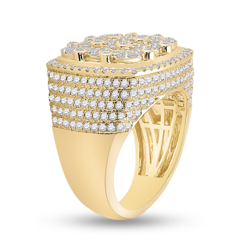 14kt Yellow Gold Mens Round Diamond Cluster Square Ring 3-3/8 Cttw
