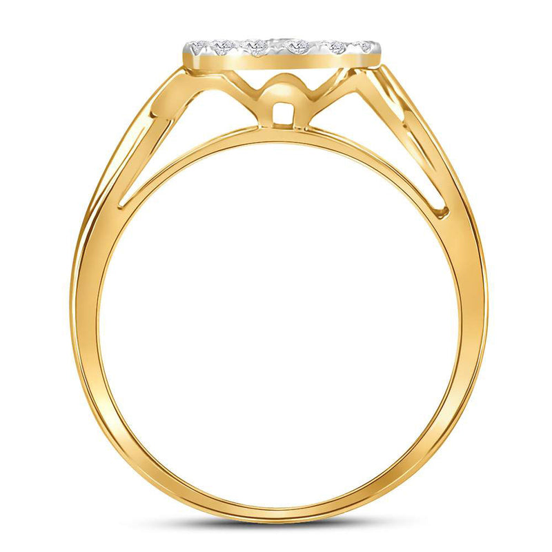 10kt Yellow Gold Round Diamond Bridal Wedding Ring Band Set 1/3 Cttw