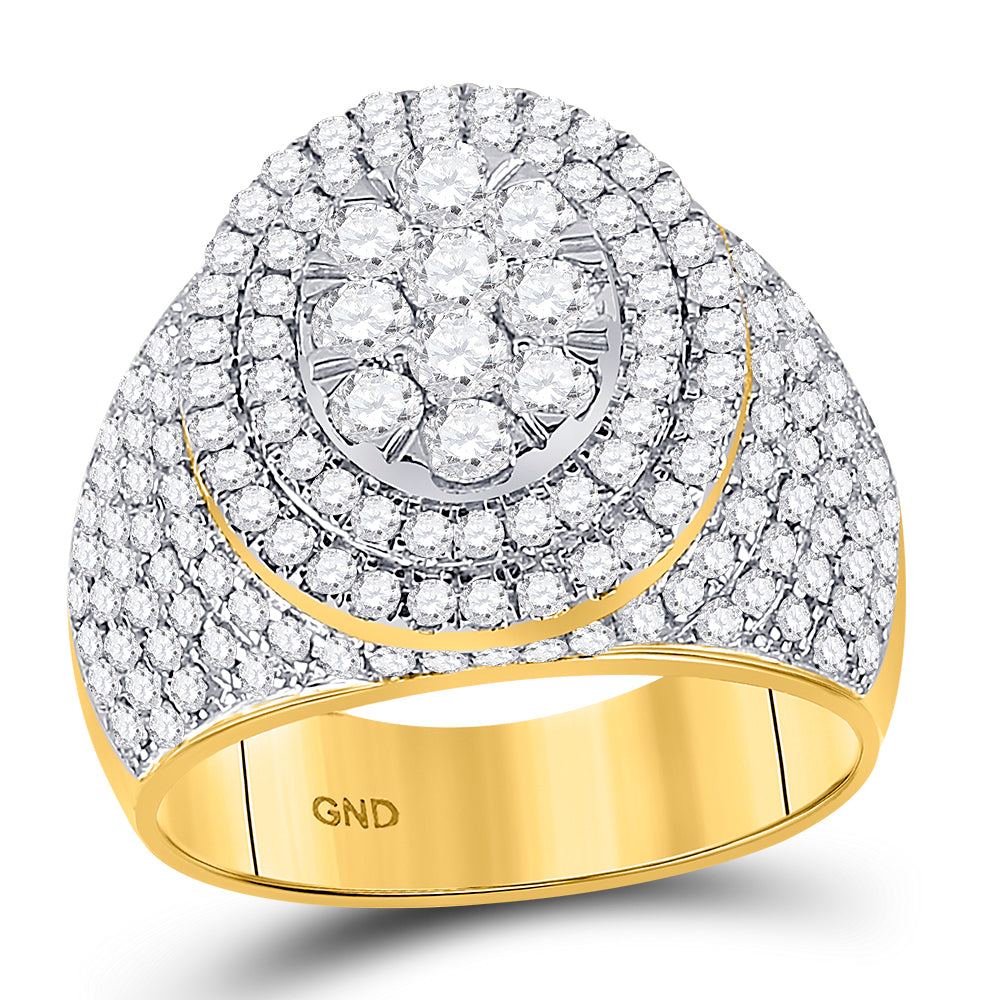 10kt Yellow Gold Mens Round Diamond Statement Cluster Ring 2-1/2 Cttw