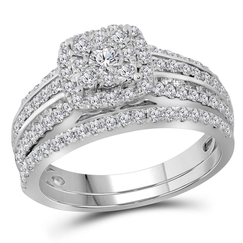 14kt White Gold Round Diamond Double Halo Bridal Wedding Ring Band Set 1 Cttw