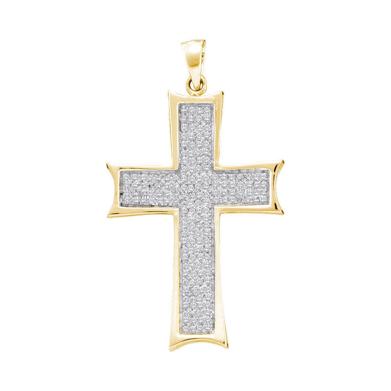 10kt Yellow Gold Mens Round Diamond Flared Roman Cross Charm Pendant 1/2 Cttw