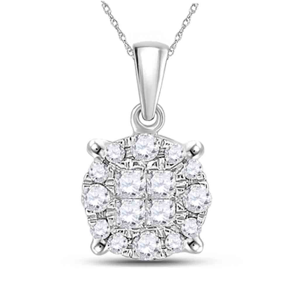 14kt White Gold Womens Princess Diamond Fashion Cluster Pendant 1/6 Cttw