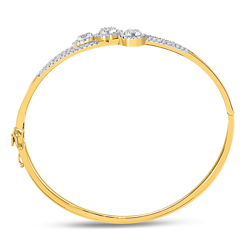 14kt Yellow Gold Womens Round Diamond Triple Cluster Bangle Bracelet 1-1/4 Cttw