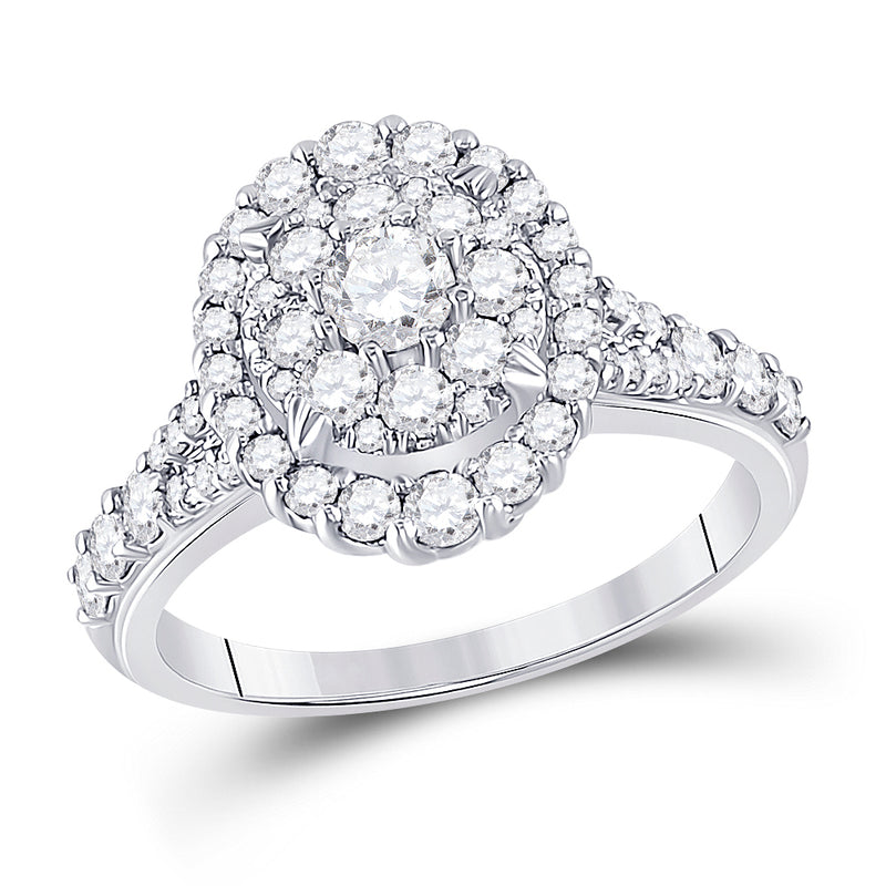 10kt White Gold Round Diamond Oval Bridal Wedding Engagement Ring 1-1/5 Cttw