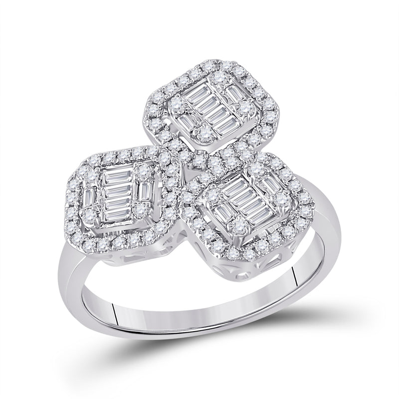 14kt White Gold Womens Baguette Diamond Triple Square Cluster Ring 5/8 Cttw