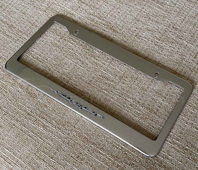 STINGER Text Emblem License Plate Frame in Stainless Steel