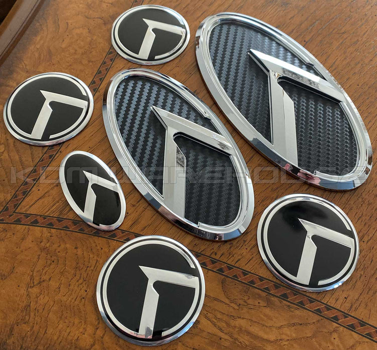 Kia 3.0 KLexus Emblem Set for all Kia vehicles (Black Carbon w/Chrome)