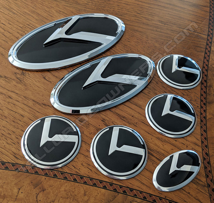 Kia 3.0 KLexus Emblem Set for all Kia vehicles (Black w/Chrome)