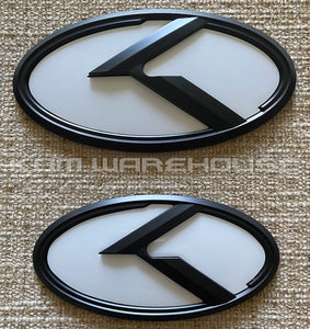 Kia 3.0 KLexus Emblem Set for all Kia vehicles (White w/Black)