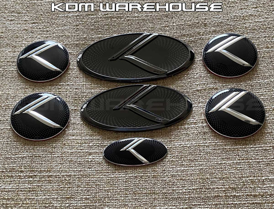 Vintage K Emblem Set for all Kia vehicles (Checkered w/Gunmetal)