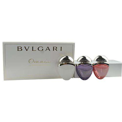 Bvlgari Omnia Variety 3 Piece Womens Mini Variety With Omnia Crystalline & Omnia Amethyste & Omnia Coral And  All Are Edt Sprays .5 Oz