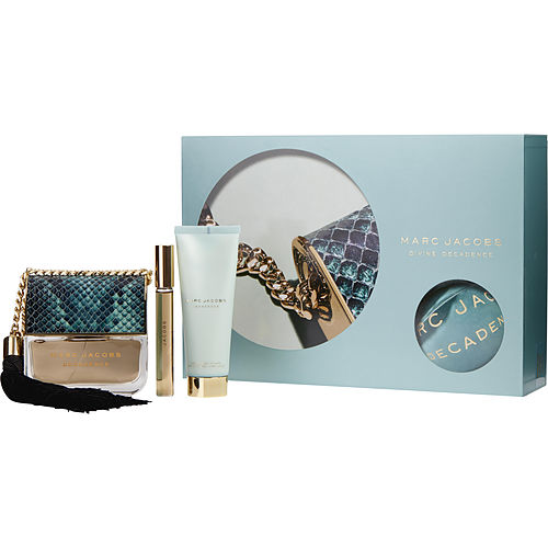 Marc Jacobs Divine Decadence  Eau De Parfum Spray 3.4 Oz & Body Lotion 2.5 Oz & Eau De Parfum Rollerball .33 Oz