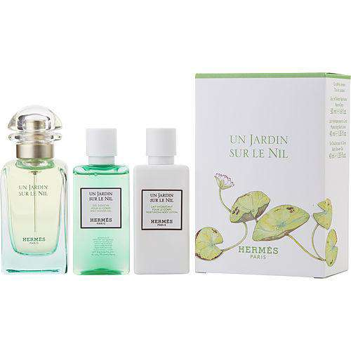 Un Jardin Sur Le Nil By Hermes Edt Spray 1.6 Oz & Body Lotion 1.3 Oz & Shower Gel 1.3 Oz