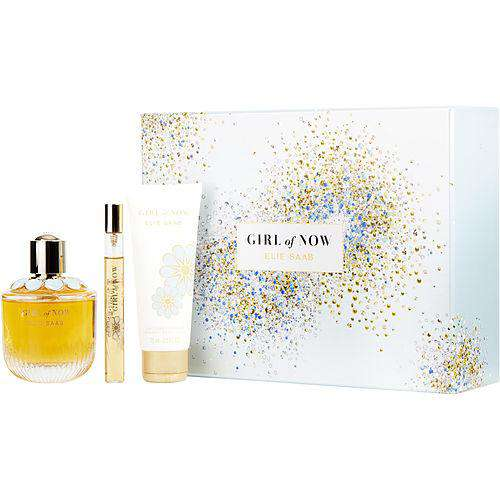 Elie Saab Girl Of Now By Elie Saab Eau De Parfum Spray 3 Oz & Body Lotion 2.5 Oz & Eau De Parfum .33 Oz Mini Travel Spray