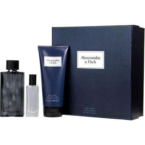 Abercrombie & Fitch First Instinct Blue Edt Spray 3.4 Oz & Hair And Body Wash 6.7 Oz & Edt Spray .5 Oz Mini