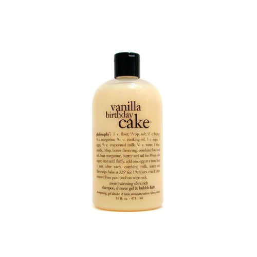 Philosophy By Philosophy Vanilla Birthday Cake Shampoo, Shower Gel & Bubble Bath --480ml-16oz