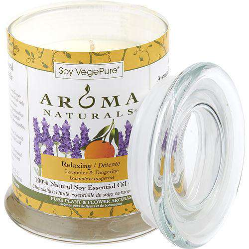 Relaxing Aromatherapy By Relaxing Aromatherapy One 3.7x4.5 Inch Medium Glass Pillar Soy Aromatherapy Candle...
