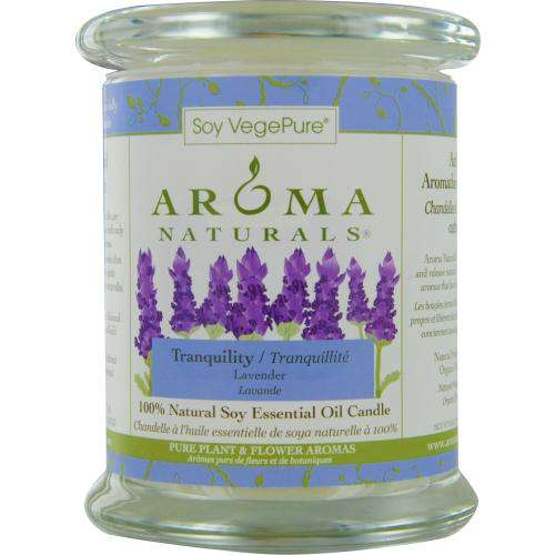 Tranquility Aromatherapy By Tranquility Aromatherapy One 3.7x4.5 Inch Medium Glass Pillar Soy Aromatherapy Candle.