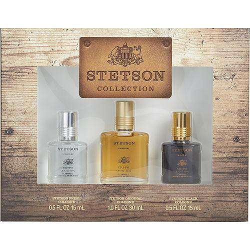 Stetson Variety By Coty 3 Piece Variety With Stetson Cologne 1 Oz & Stetson Fresh Cologne .5 Oz & Stetson Black  .5 Oz