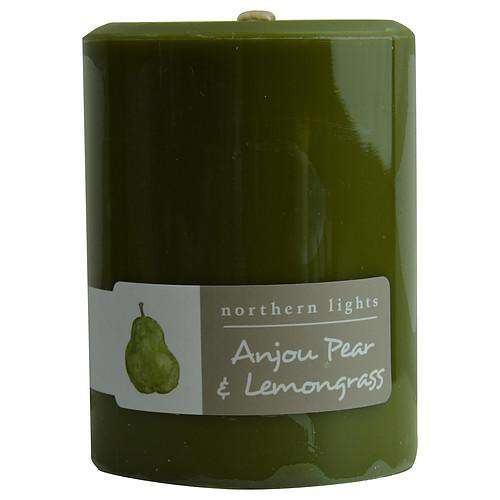 Anjou Pear & Lemongrass By  One 3x4 Inch Pillar Candle.  Burns Approx. 80 Hrs.