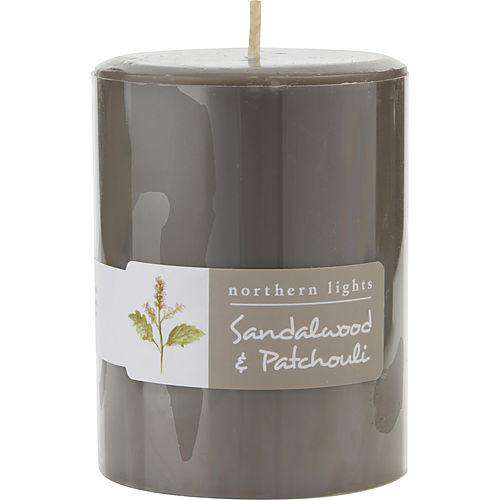 Sandalwood & Patchouli By  One 3x4 Inch Pillar Candle.  Burns Approx. 80 Hrs.