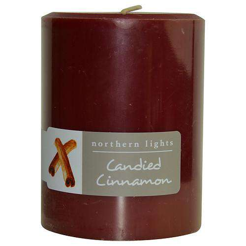 Candied Cinnamon By  One 3x4 Inch Pillar Candle.  Burns Approx. 80 Hrs.