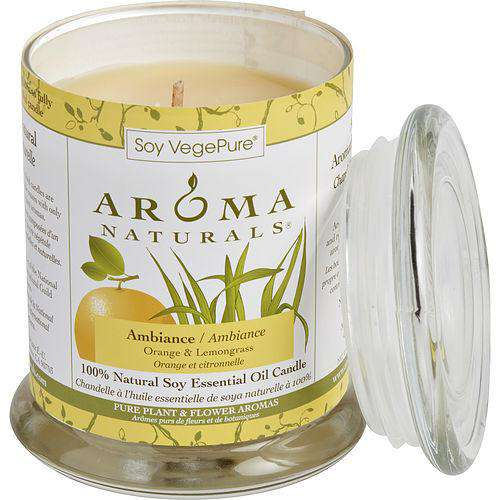Ambiance Aromatherapy 3.7x4.5 Inch Medium Glass Pillar Soy Aromatherapy Candle.