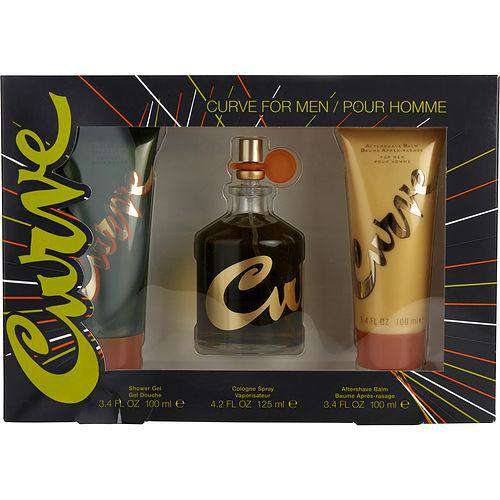Curve By Liz Claiborne Cologne Spray 4.2 Oz & After Shave Balm 3.4 Oz & Shower Gel 3.4 Oz