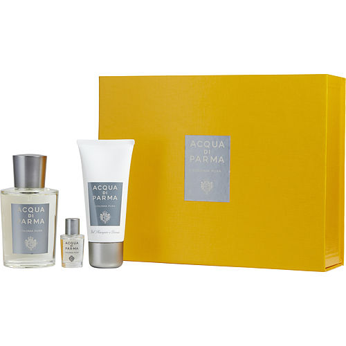 Acqua Di Parma Colonia Pura Eau De Cologne Spray 3.4 Oz & Hair And Shower Gel 1.7 Oz & Colonia Pura Eau De Cologne .16 Oz Mini