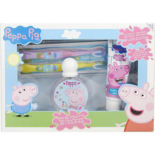 Peppa Pig By  Edt Spray 1.7 Oz & Toothpaste 2.5 Oz & Two Toothbrushes