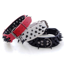 "Load image into Gallery viewer, 2"" Wide Sharp Spiked Studded Leather Dog Collars"