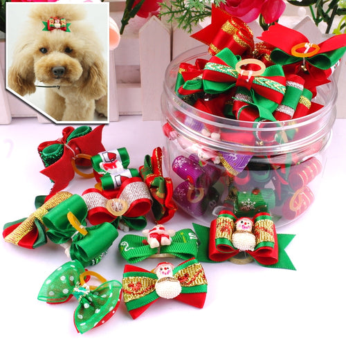 20pcs Dogs Christmas Hair Bows Pet Dog Accessories