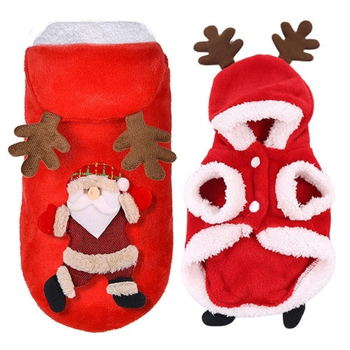 Christmas Dog Clothes Fleece Dog Coat Santa Dog