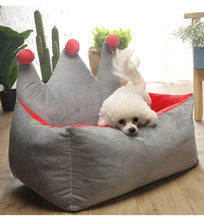 Load image into Gallery viewer, Crown Princess Dog Beds Warm Winter Cat Bed Nest
