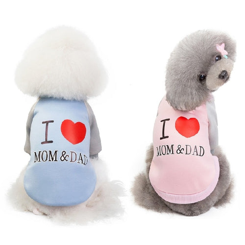 Dog Cat Clothes For Small Dog Love MOM&DAD Teddy