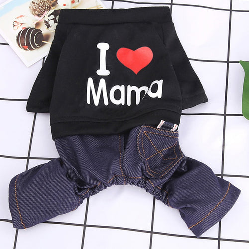 Dog Sets Fashion Pet Love Heart Design Costume Dog Clothes I Love My Mom Puppy Spring Autumn Clothing
