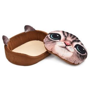 Lovely Cat 3D Realistic Pattern Pet Bed Soft