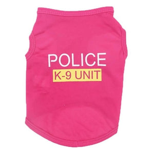 New POLICE Back Pet Cat Dog Clothes Vest Summer