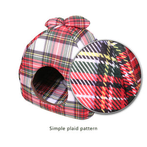 Pet Bed Dog House Bowknot Plaid Dog Bed