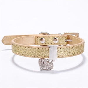 Pet Dog Cat Collar Bling Love Heart Crystal