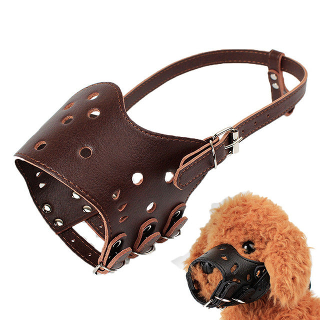 XS-XL Pet Dog Prevent Bite Mask Adjustable Leather