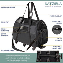 Load image into Gallery viewer, Katziela Black Airline Approved Wheeled Carrier