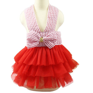 Fashion Jean Pet Tutu Skirt Bow Puppy Dog