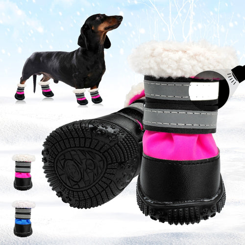 Winter Dog Shoes Waterproof Boots Pet Shoes Socks For Small Medium Dogs Non-slip Dog Shoe Bootie Snow Boots Reflective