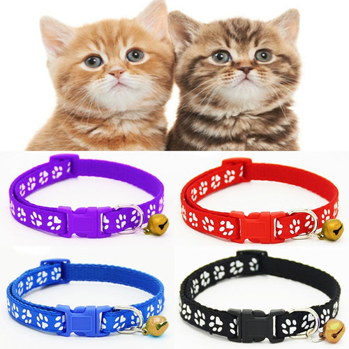 1PC New Puppy Pet Collar Adjustable Cat Dog Printing Footprint  With Lovely Small Bell Nylon Fabric Kitten Collars