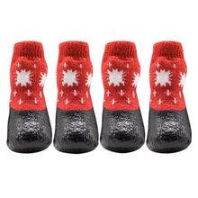 Load image into Gallery viewer, 0-6 Size Cotton Rubber Pet Dog Shoes Waterproof Non-slip Dog Rain Snow Boots Socks Footwear For Puppy Small Cats Dogs 4pcs/set
