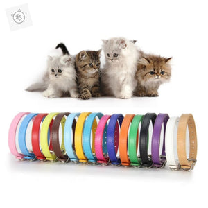 SUPREPET PU Leather Cat Collars Colorful Soft Pet Cat Dog Collar for Small Cat Medium Cat Puppy Adjustable Collar Leather Strap
