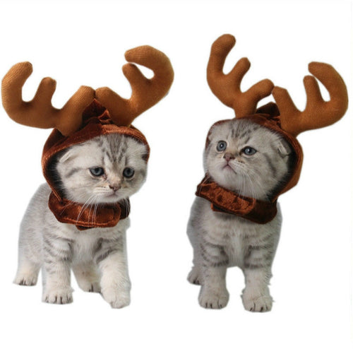 Dogs Cat  Reindeer Headband Cap For Cat Xmas Costume  Hair Decor  Pet Elk Antlers Cute Hats Puppy Deer Horns Caps Headdress